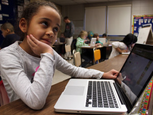 A $350 classroom grant allowed for the purchase of software so Hintgen Elementary second-graders could work at their own pace on math problems.