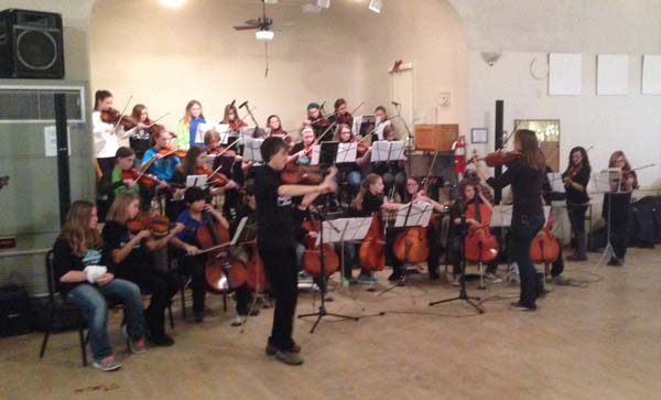 River City Strings, comprised of La Crosse school students, performs at Jan. 10 Square Dance at Concordia Hall.