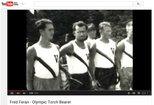 Two days before heading to the 1936 Olympics in Berlin to run the 1500 for Czechoslovakia, Fred Feran (bearded man in center of photo) decided to join the multinational boycott of the Olympics. Instead, during World War II, Fred left home to survive. In 2002, he had the opportunity to run for the Olympics - carrying the Olympic torch through the French Quarter as it made its way to Salt Lake City for the Winter Olympics.