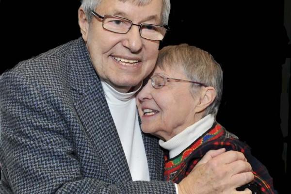 Former Superintendent Dick Swantz with former LPEF Board President Rachel Gundersen.