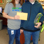 Logan Middle teacher Diane Block, with 8th-grade student Kaleb Sivanich - Diane received a $648 grant for software that provides individualized instruction to help students develop reading skills and improve vocabulary.