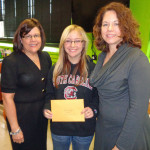 Longfellow/LDI Principal Penny Reedy, 8th-grade student Angeli Engel and LPEF Board Member Cari Mathwig-Ramseier - LDI received a $1,300 grant to buy animation software for a student-run class