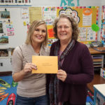 Teacher Carissa Brudos of Summit with Margaret Dihlmann-Malzer of the LPEF Board. Carissa is working with Maria Mason at North Woods.