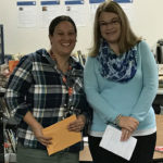 Teacher Jocelyn Buxton of Spence with LPEF Board President Tammy Larson. Jocelyn received two grants - one to help purchase books to help students learn social skills; the other shared with Michelle L. Powell (not pictured).