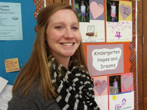 Emerson teacher Kelly Masche received a grant to buy standing desks for use by special education students.